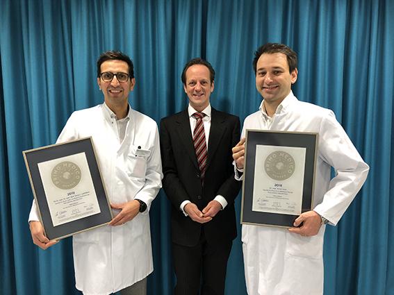 Siegelübergabe 2018 an PRIMO MEDICO- Mitglied Dr. med. Loeffelbein und Dr. med. Lonic
