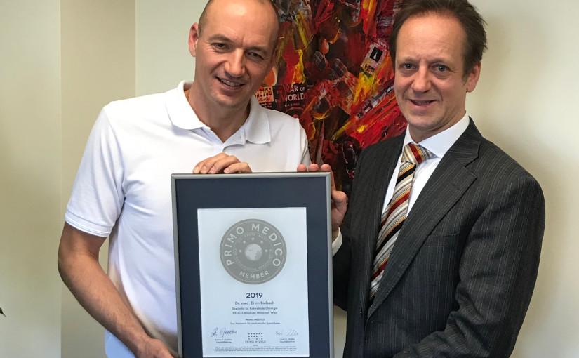 Dr. med.  Erich Bielesch –  Mitgliedschaft im PRIMO MEDICO  Netzwerk erneut bestätigt